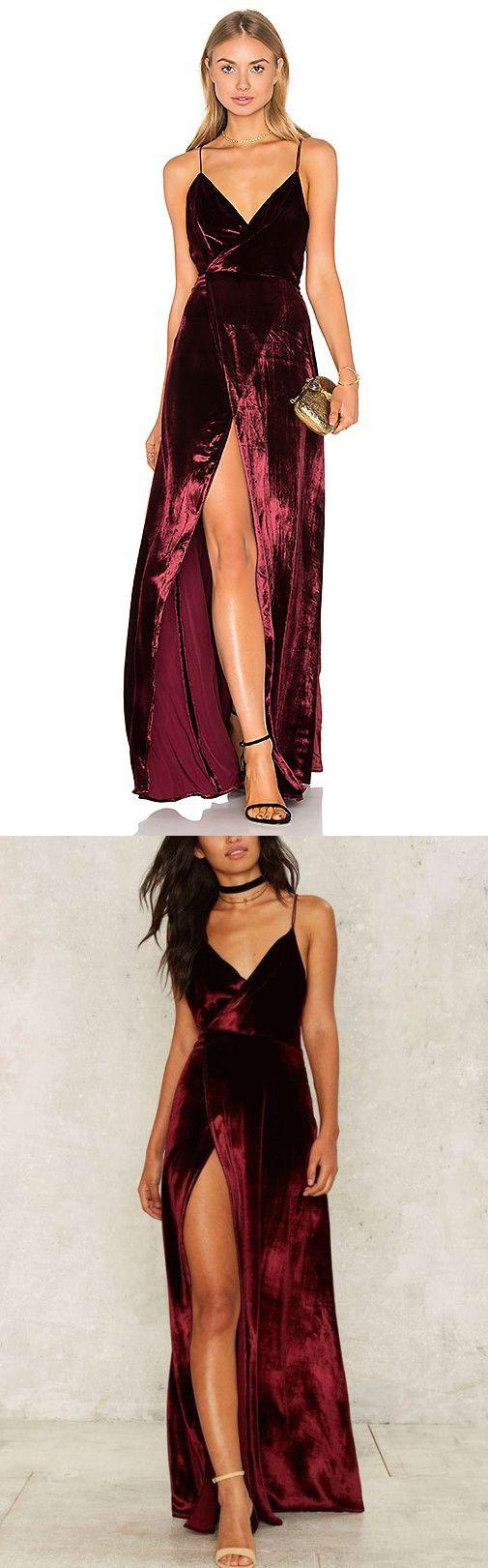 Long prom gowns evening dress burgundy slit prom dressprom dresses