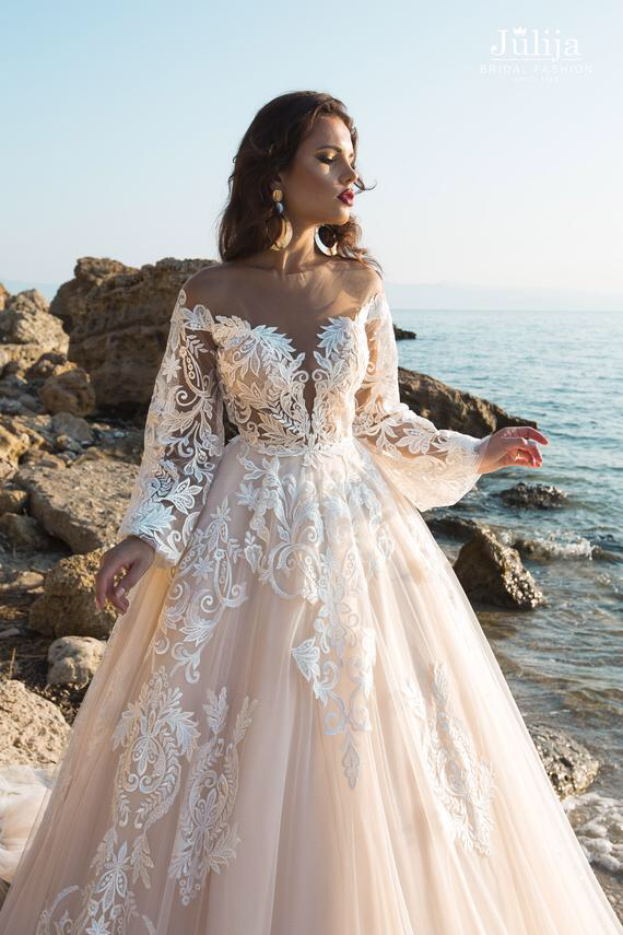 Luxury Embroidered Dress Sparkle Lace Wedding Dress Unique Bridal Gown Lace Wedding Dress Ball Gown With Long Puff Sleeve Wedding Dress Ball Gowns Wedding Wedding Dresses Lace Wedding Dresses Unique