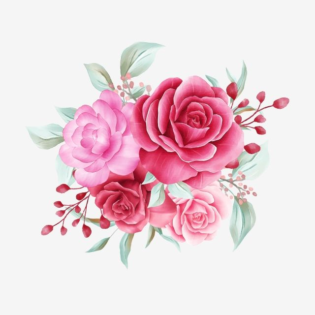 Photo of Watercolor Flowers Bouquet Of Red Roses And Wild Leaves Element For Wedding Or Greeting Card, Flower, Watercolor, White PNG Transparent Clipart Image and PSD File for Free Download