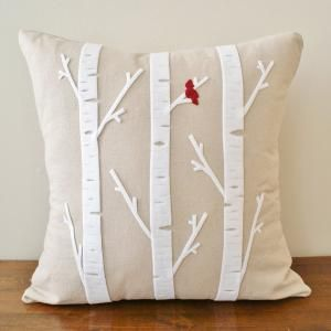 cute birch pillows & a red cardinal bird... looks easy enough. Would go perfect with the curtains I have my eye on. My cardinal would probably end up not being a cardinal.
