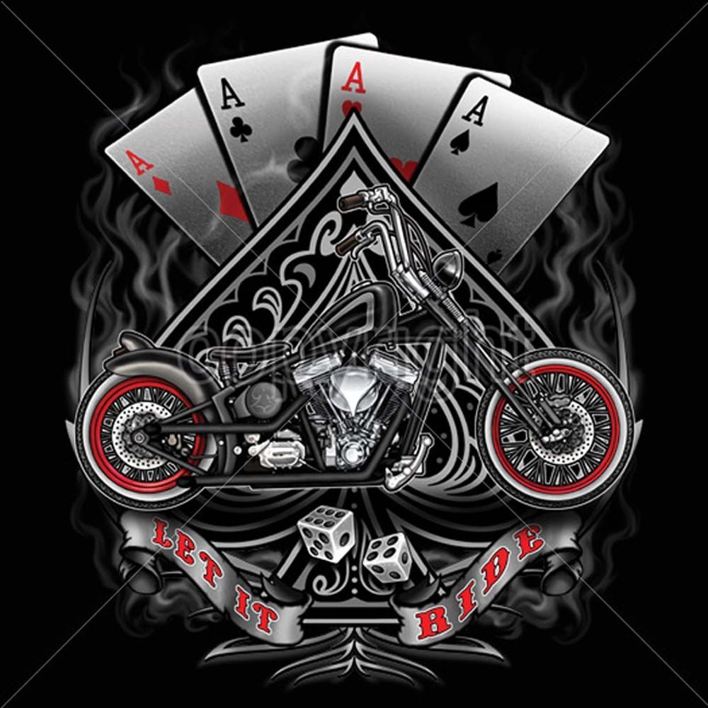 Biker T Shirts Vintage Bobber Motorcycle Chopper Gambler Aces Small to 6X /& Tall