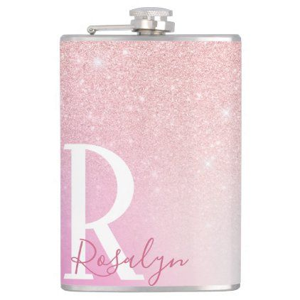 Elegant modern girly ombre pink rose gold glitter flask | Zazzle.com