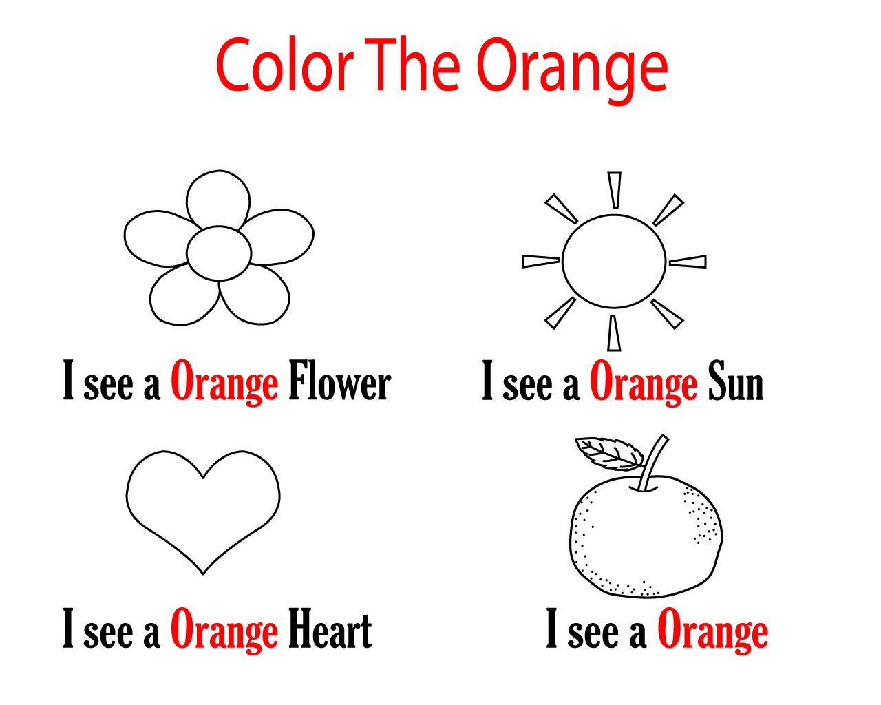 Preschool Coloring Pages Color Orange