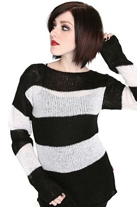 Black White Striped Tripp Hot Topic sweater #hottopicclothes