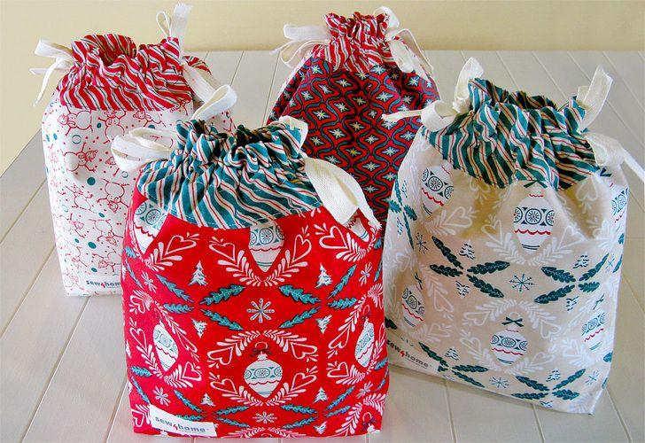 Drawstring gift bags christmas