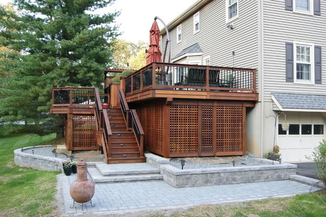 Wide Stair Two Tier Deck Designs Deck Ideas Deck