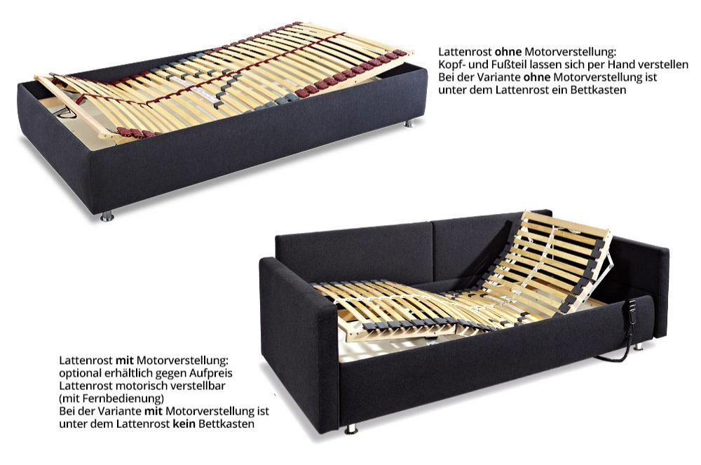 innsbruck deluxe bettsofa mit verstellbarem lattenrost von sofaplus lattenrost bettkasten und. Black Bedroom Furniture Sets. Home Design Ideas