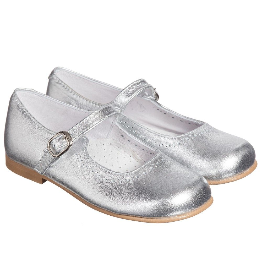 e090c76630df9 Children s Classics - Girls Silver Metallic Leather Mary Jane Shoes
