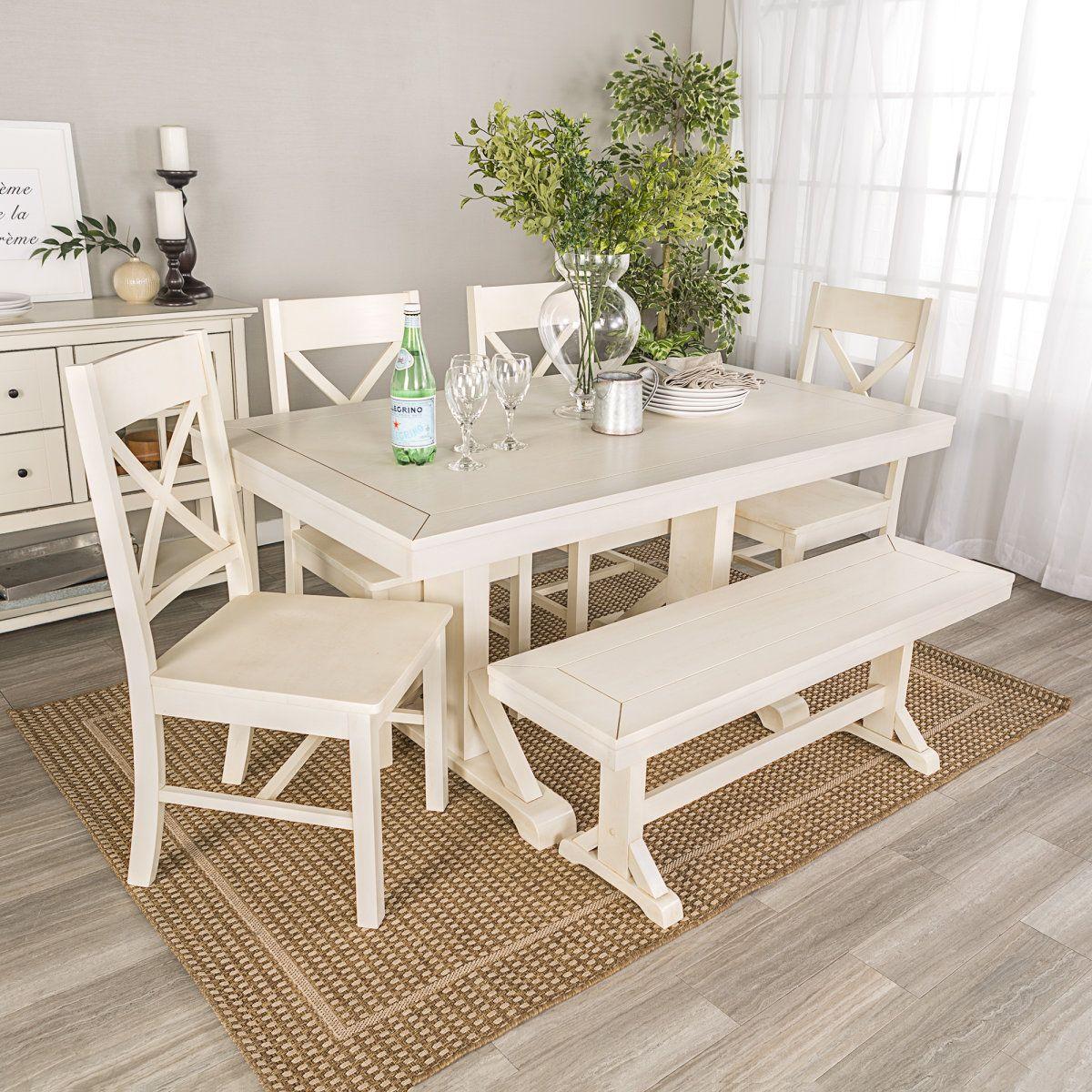 6 Piece Antiqued Wood Dining Set Furniture Black Dining Room Furniture Cottage Furniture