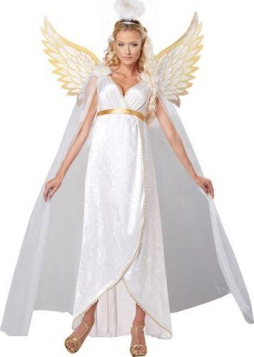 066589b449 Un magnifico travestimento da angelo per donna, composto da abito lungo,  aureola e ali con preziosi dettagli dorati.