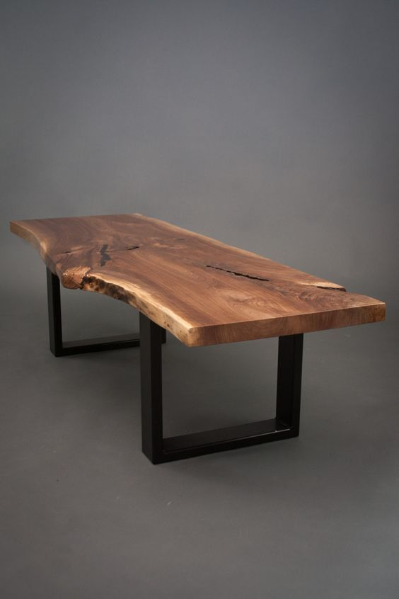Ordinaire Live Edge Walnut Slab Table With Glass Inlays Shown On A Stainless Steel  Tribeca Base. Love The Artistry Of This Office Table.