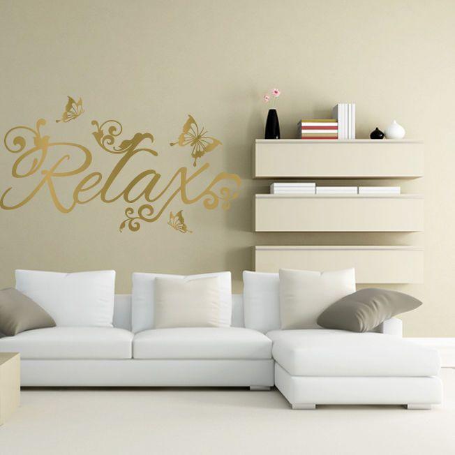 RELAX and BUTTERFLIES wall sticker art decal bedroom bathroom beauty salon spa