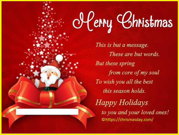 Christmas Day Wishes Quotes For Clients Christmas Messages Merry Christmas Message Christmas Messages For Friends