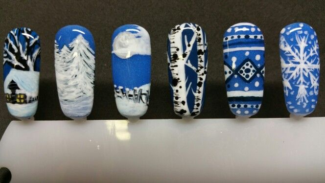 White And Blue Free Hand Winter Gel Nail Art By Angie D At Salon Central Whitefish Montana Gel Nail Art Gel Nails Nail Art