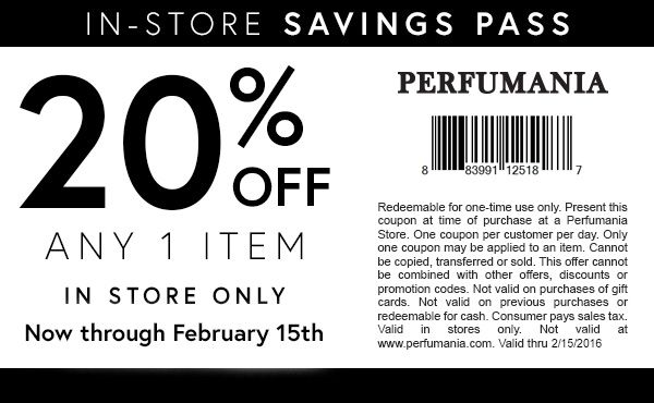 photograph regarding Perfumania Coupon Printable titled Pinned February 12th: 20% off a one product or service at Perfumania