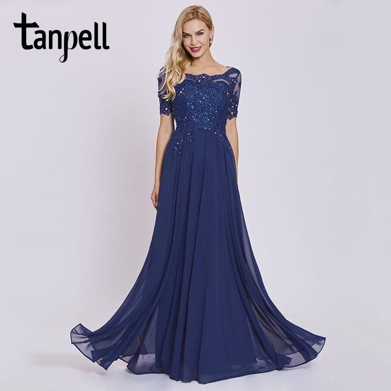 c9856534911 Tanpell dark royal blue long evening dress lace beaded o neck short sleeves  ankle length dress