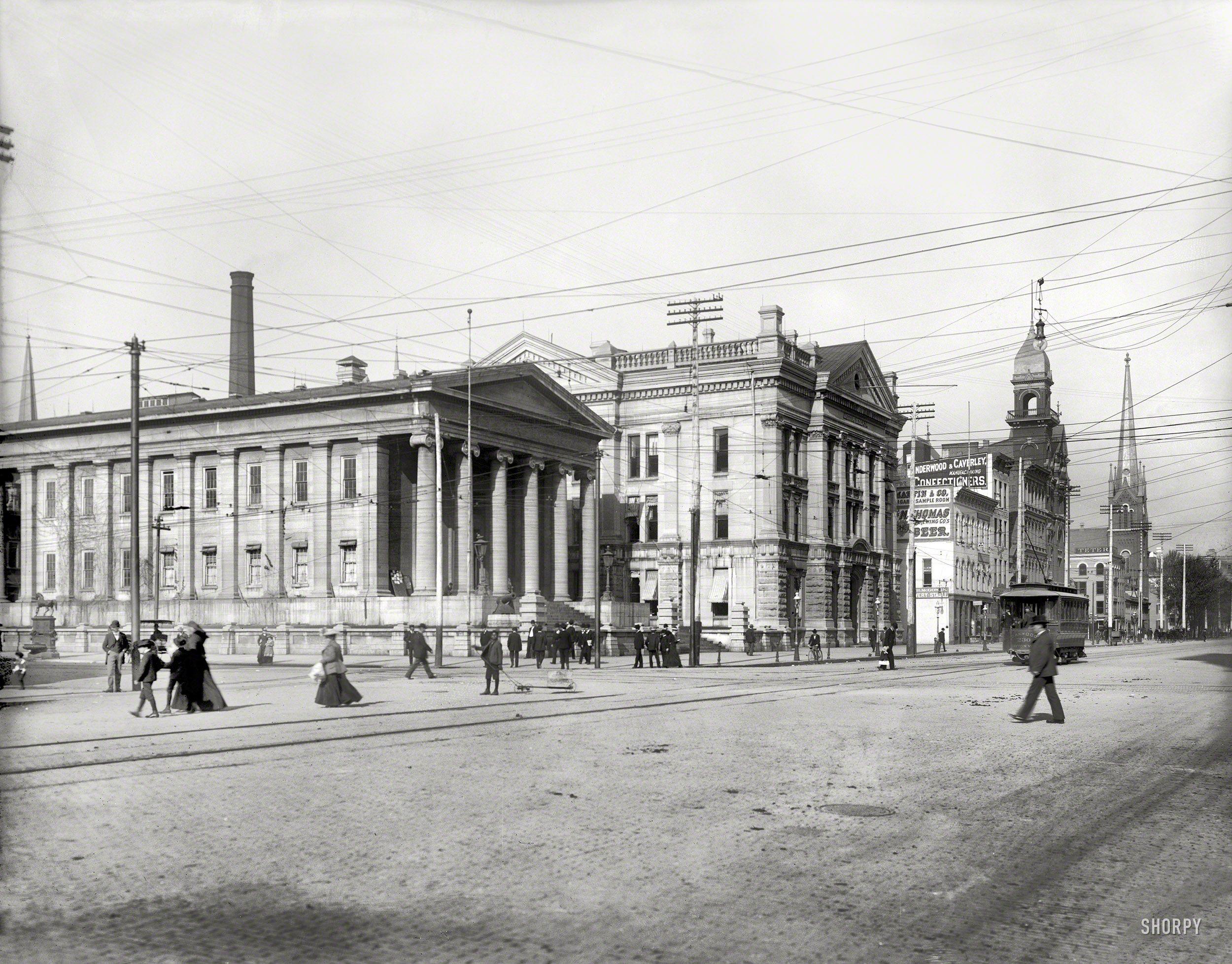 Circa 1902. Courthouse -- Dayton, Ohio. Under a web of streetcar ...