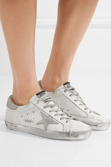 Silver Superstar distressed leather
