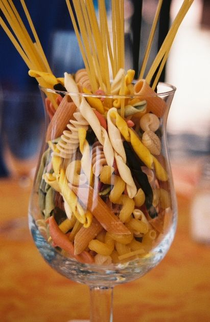 centerpiece idea. i wanna do something similar but less pasta inside the cup and more sticking out