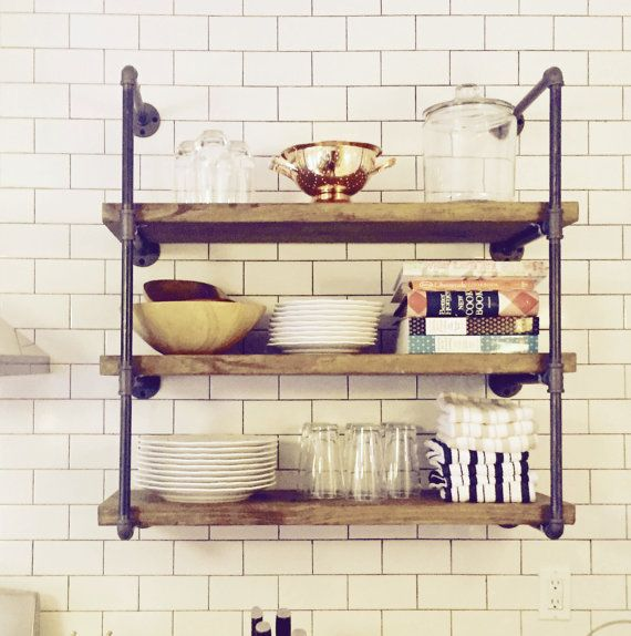 "Pipe Shelf Kitchen: 8"" Deep 24"" Wide Industrial Floating Wall Shelves, Rustic"