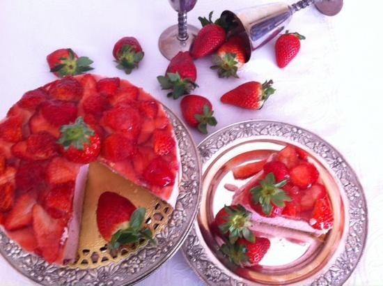 Tarta de mousse de  fresa con Thermomix