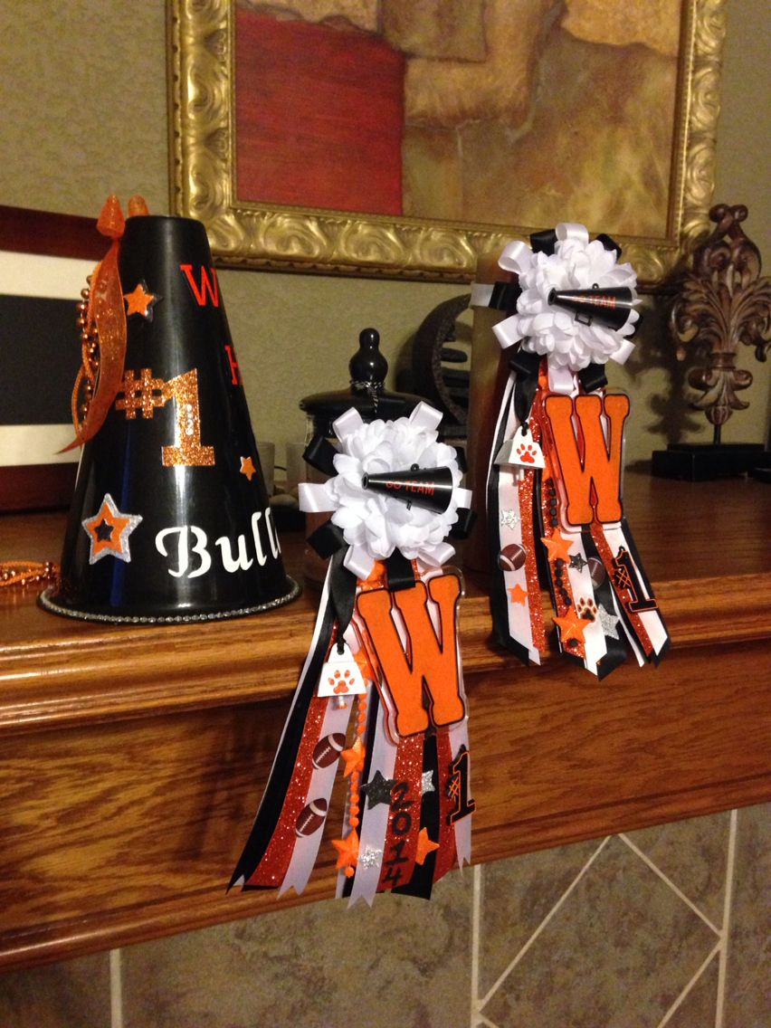 Orange and black Mums and megaphone I made for homecoming.