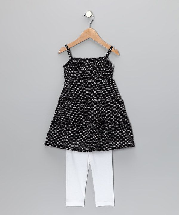 Another great find on #zulily! Black Pin Dot Tunic & Leggings - Toddler & Girls by Lele for Kids #zulilyfinds