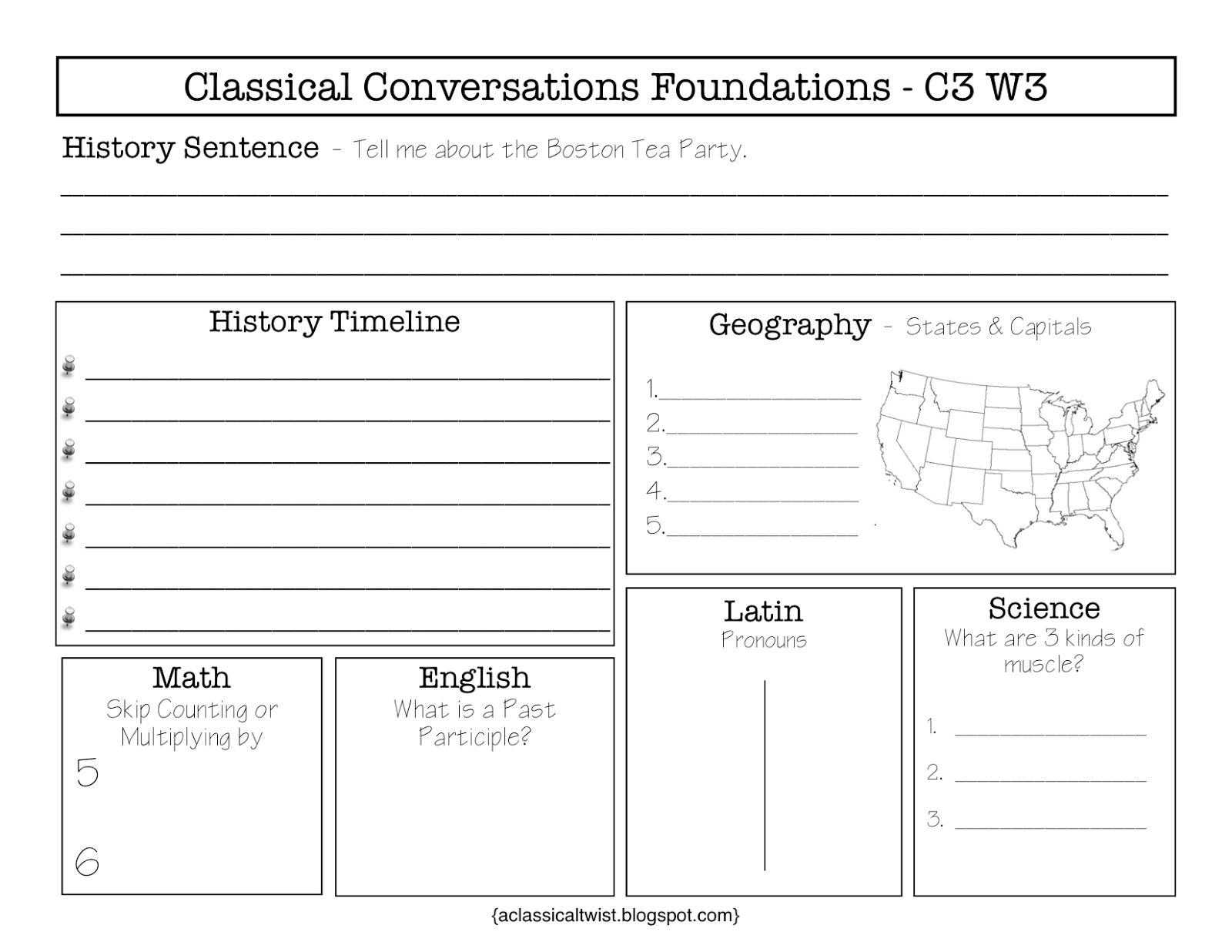 Classical Conversations Cycle 3 Review Sheets Blank And