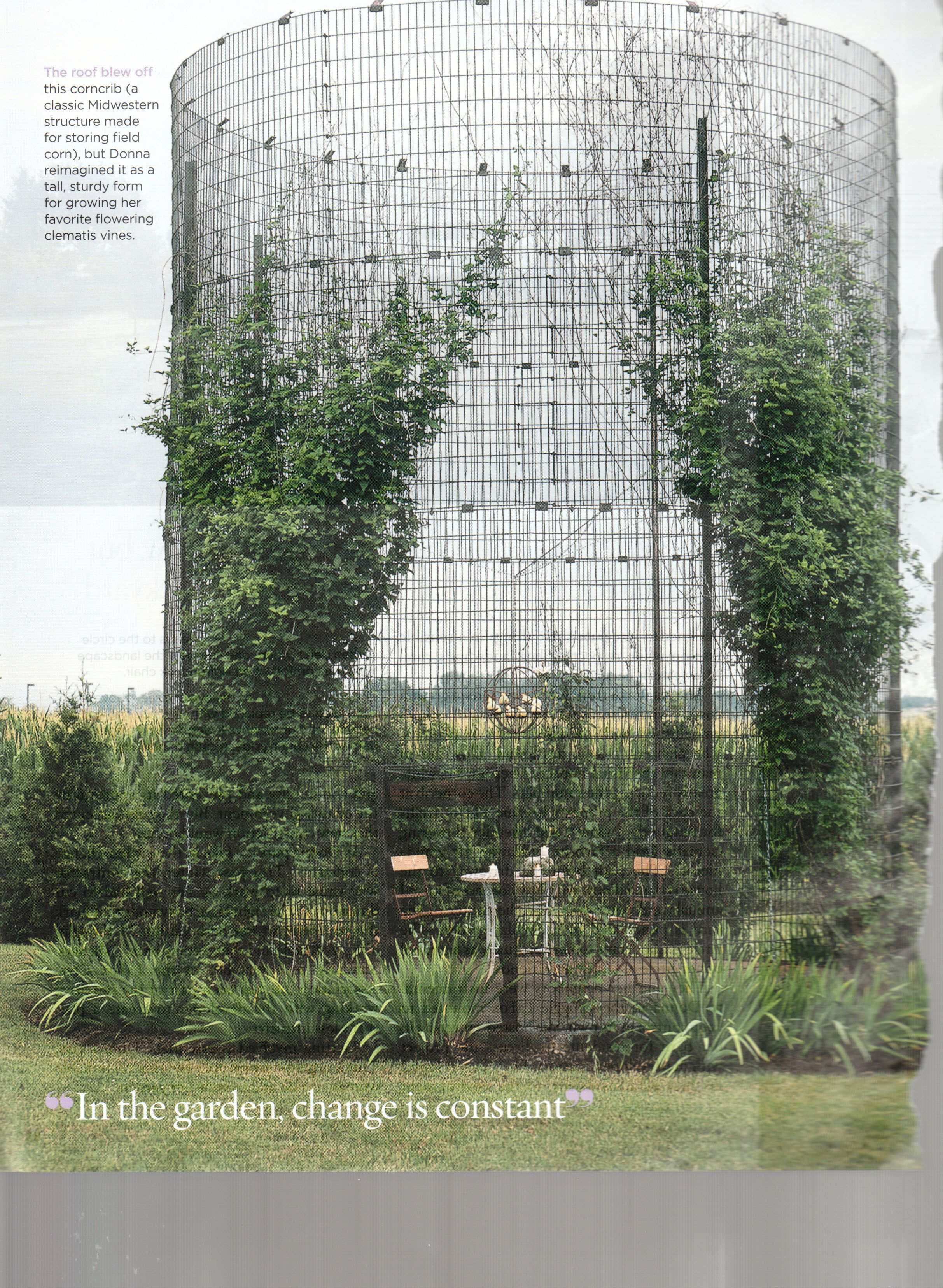 Wire Silo As Garden Enclosure, Wire Trellis, Circular Trellis