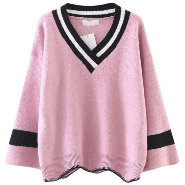 Floerns Women's Knitted Oversized Loose V Neck Varsity Sweater... ($37) ❤
