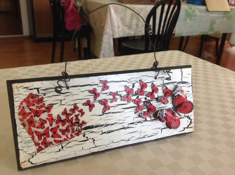 Kelebek Kalp Anahtarlık Ahşap Ve Cam Boyama Pinterest