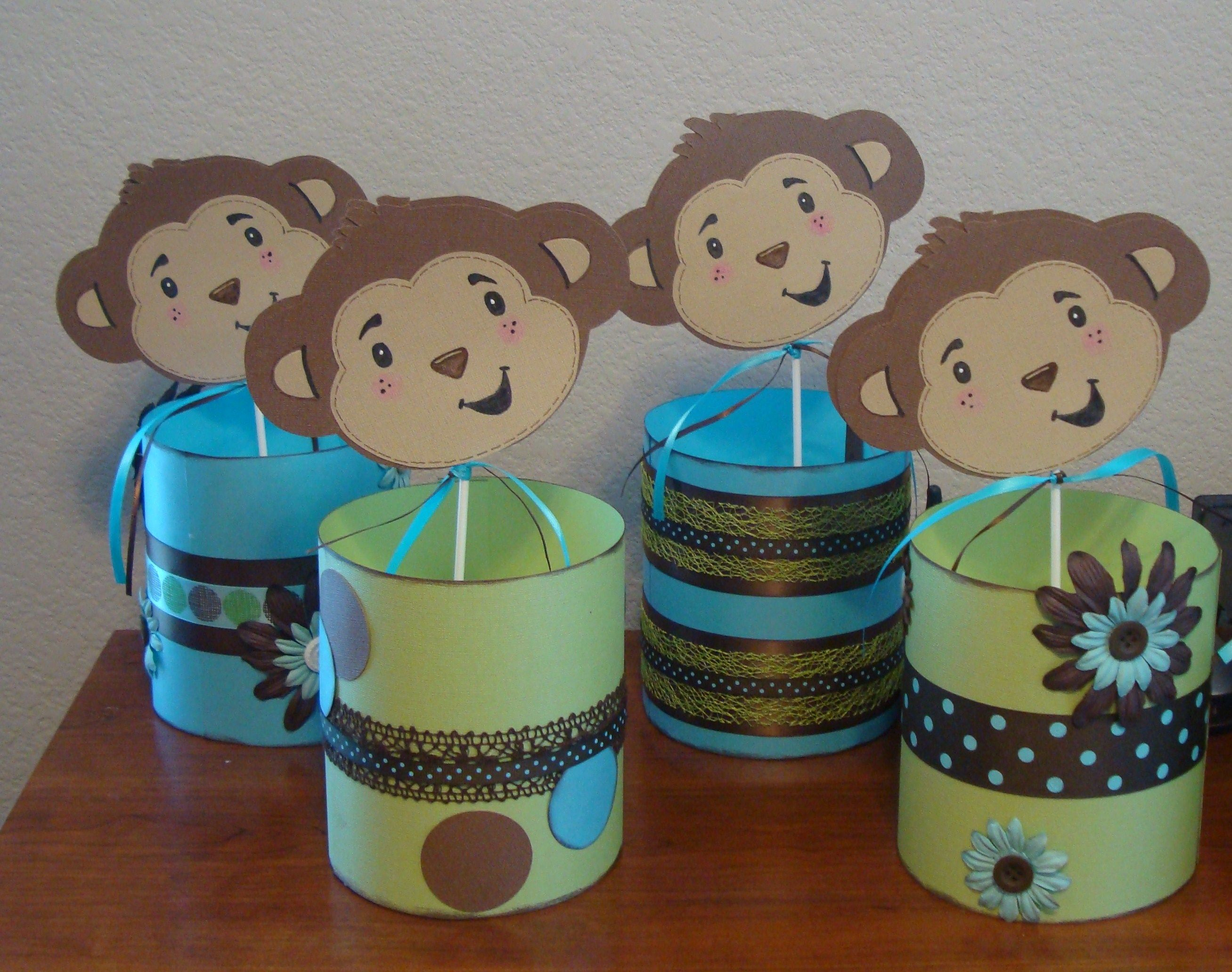 monkey theme baby shower monkey baby shower diapers and centrepieces