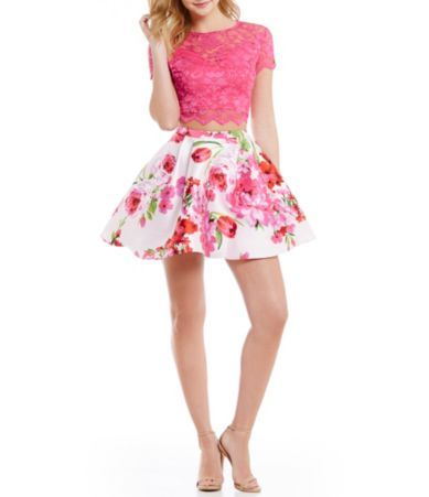 81ac7fc1074 B. Darlin Short-Sleeve Lace Illusion-Yoke Top To Floral High-Waist Skirt Two -Piece Dress  Dillards