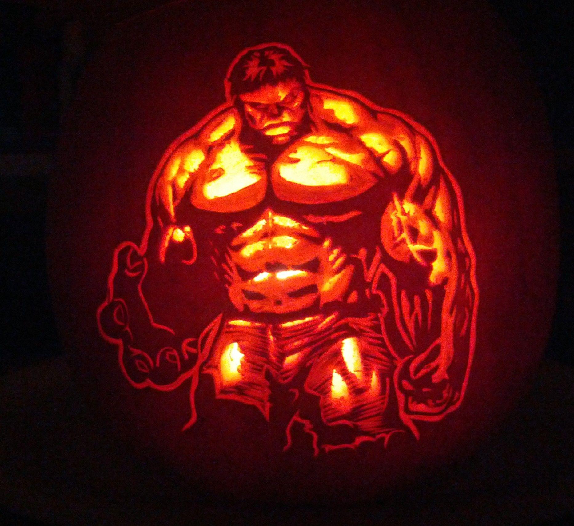 Incredible hulk pumpkin stencil smash