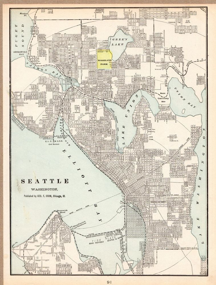 1901 Antique Seattle Map Original Vintage Map Of Seattle Washington