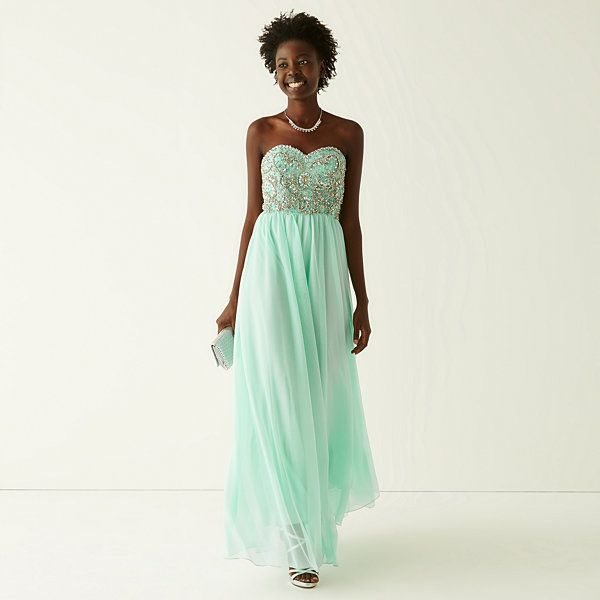 My Michelle® Strapless Embellished Bodice Long Slim Dress