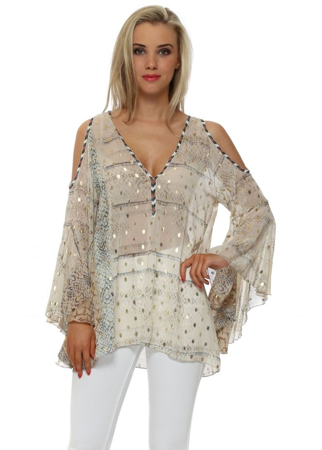 665a5993ca609 MY STORY Beige Gold Foil Beaded Cold Shoulder Top