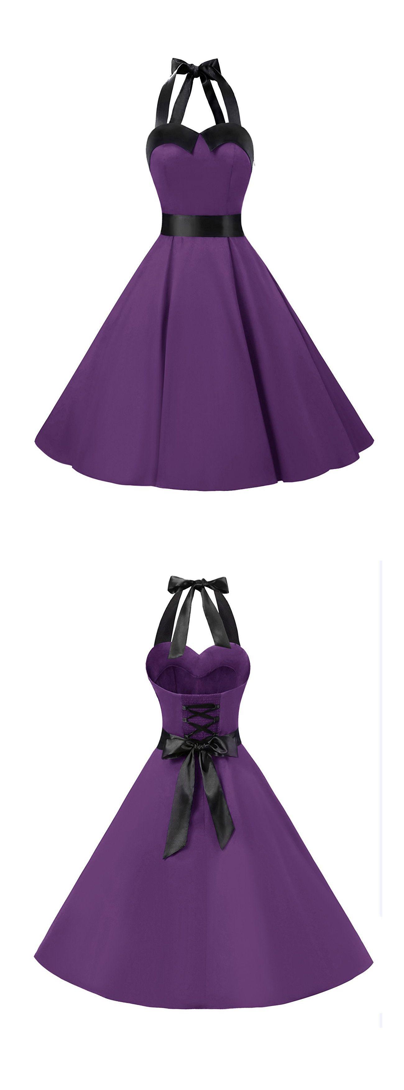 50s Retro Style Halter Grape Vintage Ruched Retro Party Dress ...