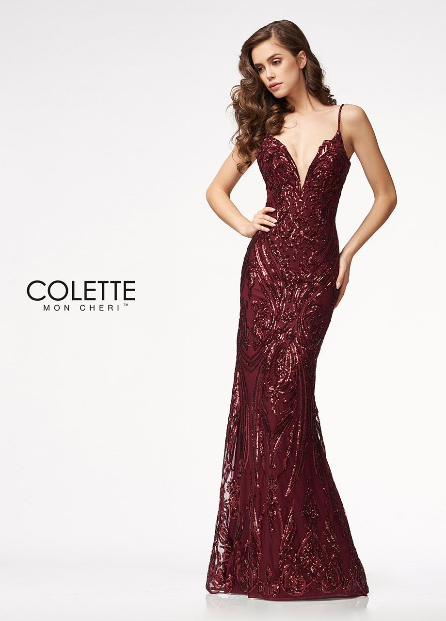 b7f5ada6556 Colette for Mon Cheri CL21722 - Fully sequined Deep V-neckline and back  Column silhouette with flared skirt