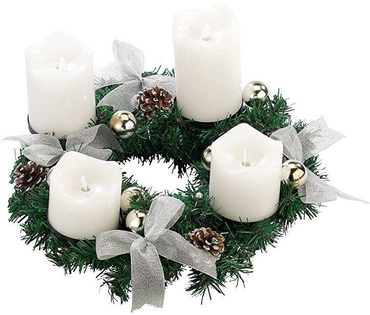 Britesta Adventkranz Adventskranz Silbern 4 Weisse Led Kerzen