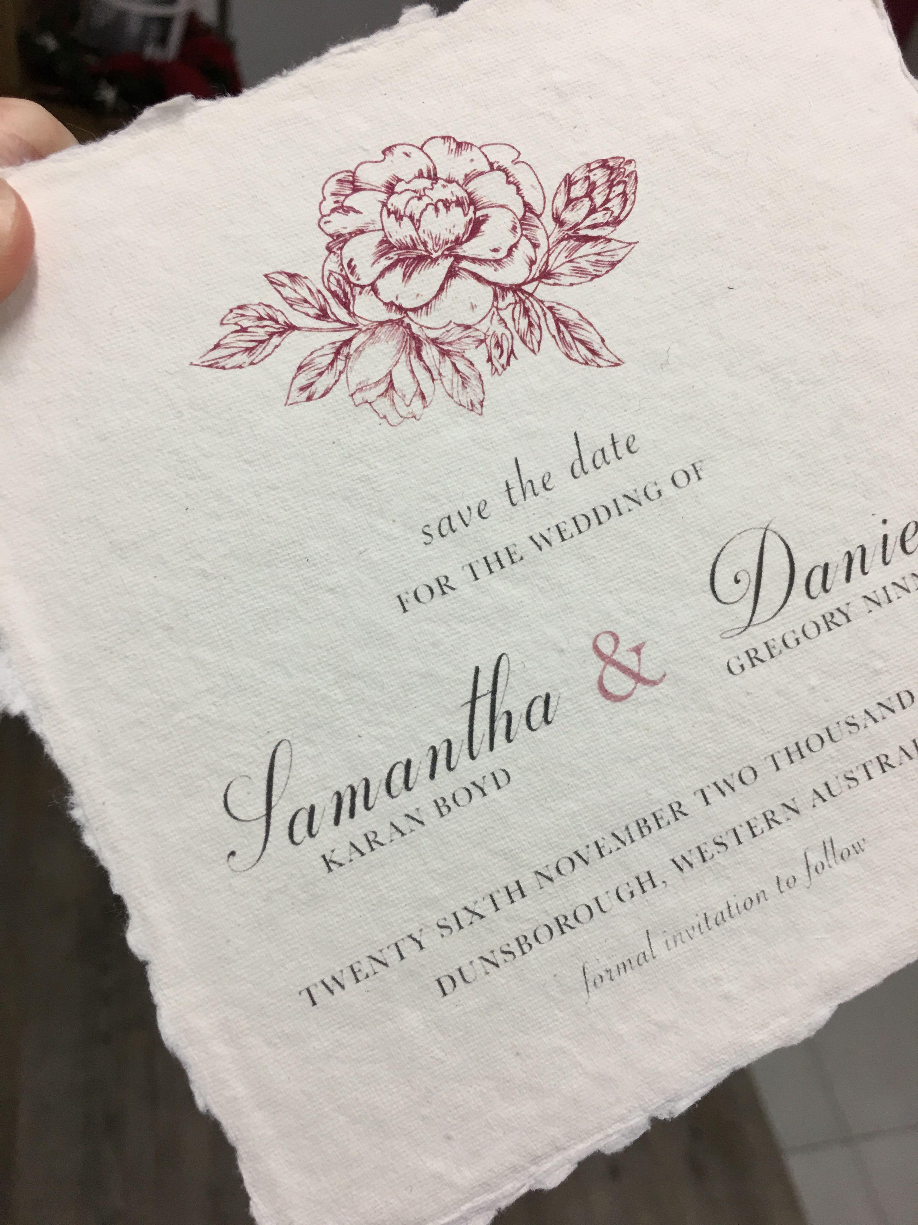 Elegant Vintage Wedding Save The Dates on 100% cotton rag Handma ...