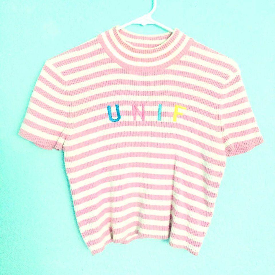 fca13a707351 UNIF Lenny Top - Crop Top Color: Pink/White Size: Large #unif #unifclothing  #fashion #ashleymguzman #style #depopshop #depop #pastel #pastelpink  #lennytop