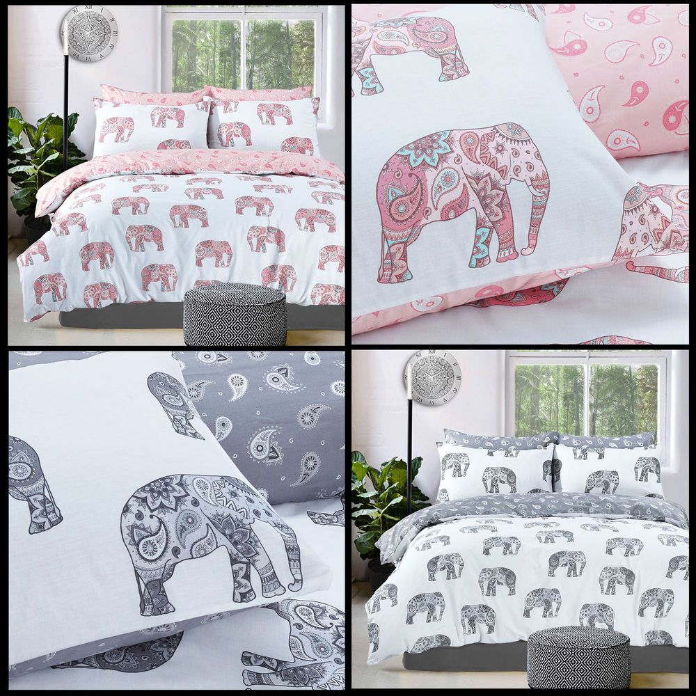Elephant Paisley Pattern Luxury Duvet Cover Set Reversible Bedding Sets Pieridae