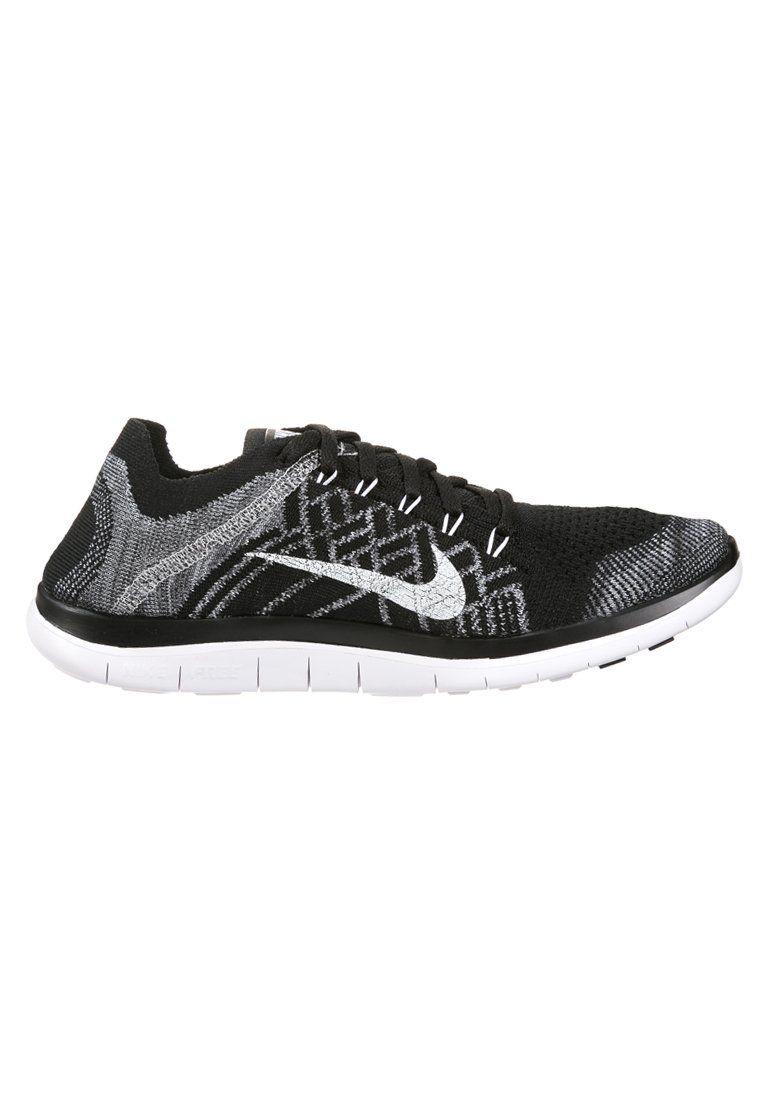 Nike Performance FREE 4.0 FLYKNIT - Löparskor extra lätta - black/white/wolf grey/dark grey - Zalando.se