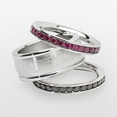 Chicago Blackhawks Stainless Steel Crystal Stack Ring Set...I WANT!!!