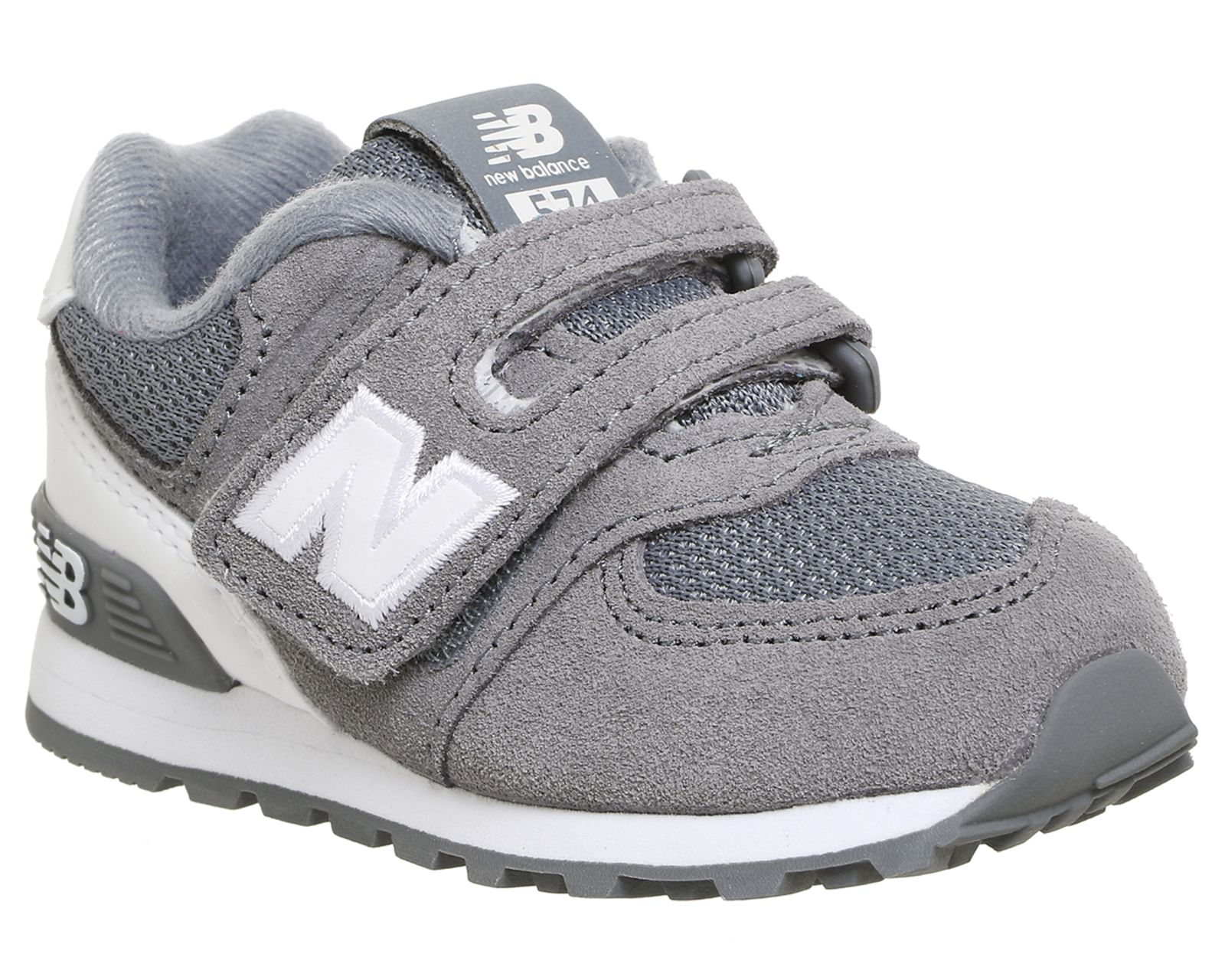 New Balance Kids 574 Velcro 5 9 Grey White | Kid shoes, Boys