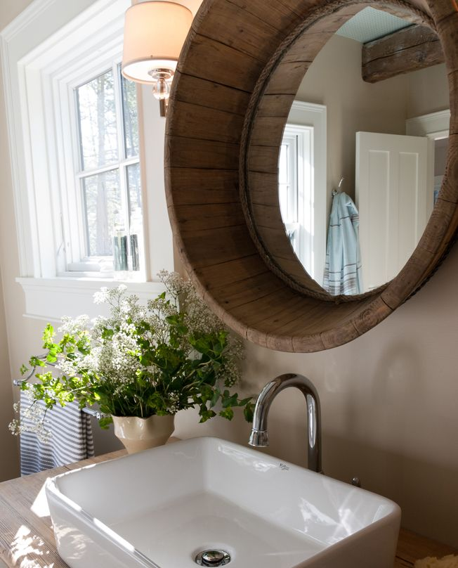 Love The Sink On The Wood Counter Top Wine Barrel With