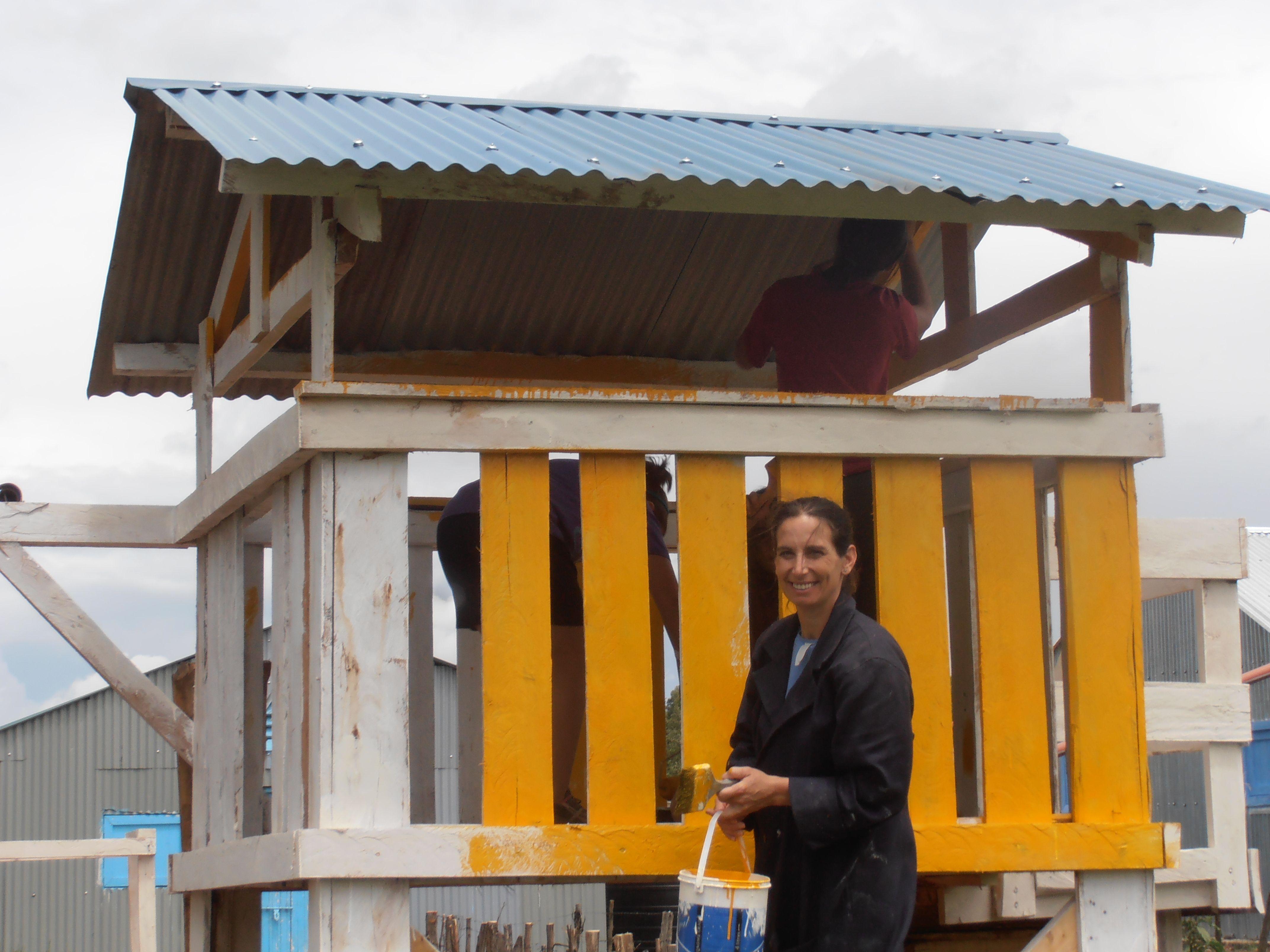 Volunteering her time building a playground for orphanage children near Bomet, Kenya