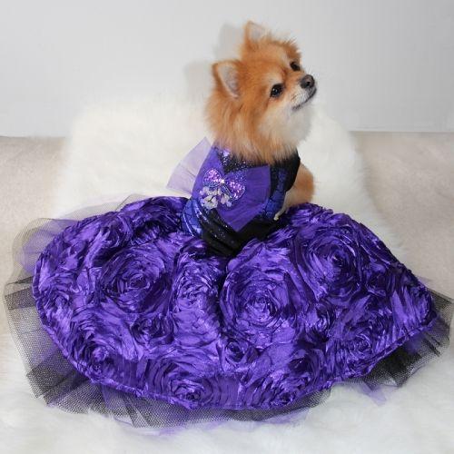 Purple Taffeta Flower Sequin Dog Gown 230 00