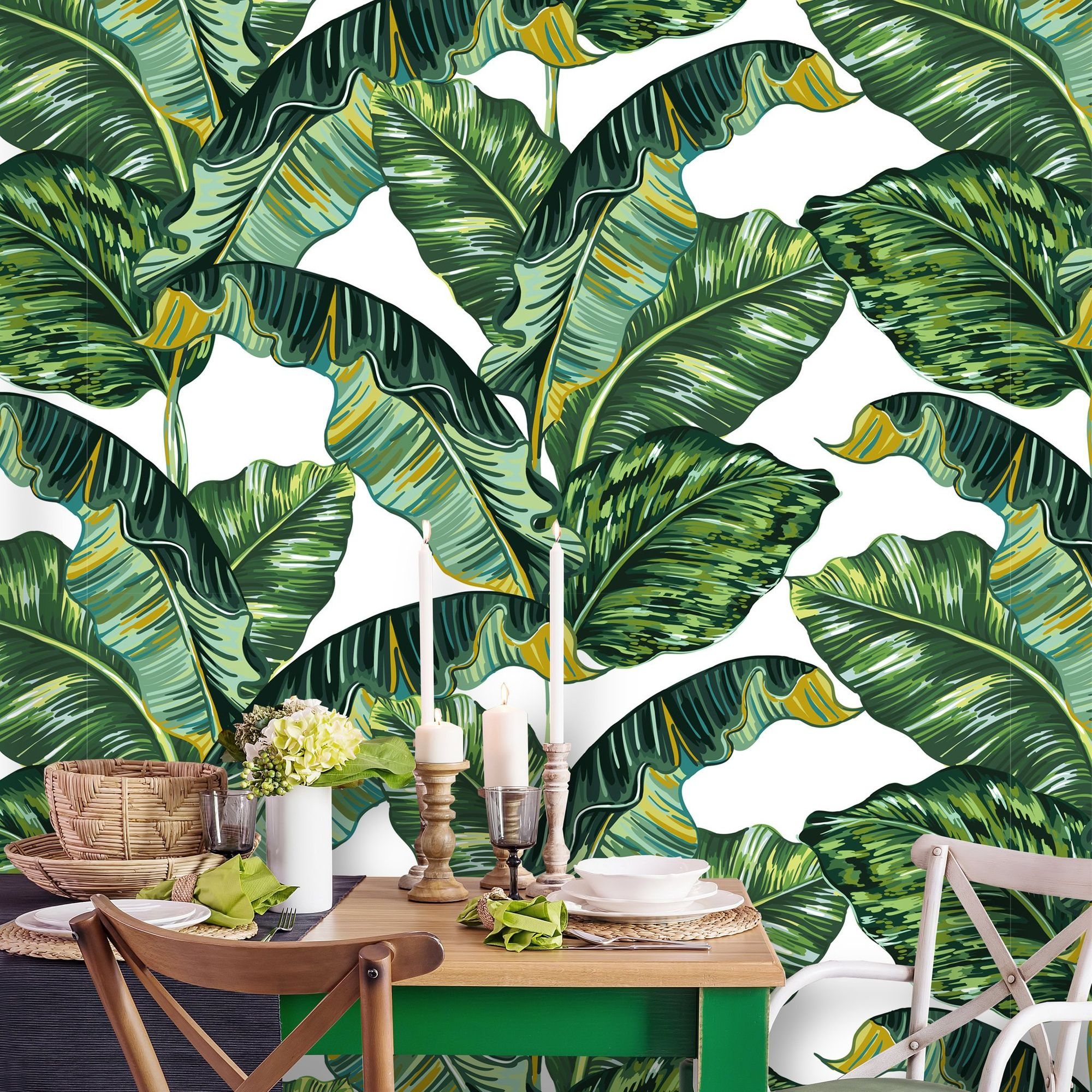 Removable Wallpaper Peel And Stick Tropical Wallpaper Self Etsy Palm Leaf Wallpaper Tropical Wallpaper Leaf Wallpaper